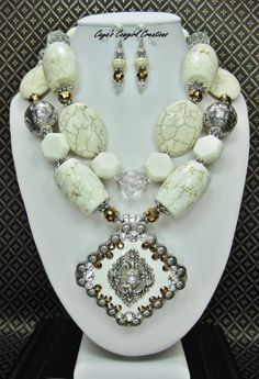 WHITE CHUNKY GEMSTONE Necklace Set / by CayaCowgirlCreations - $62.50