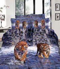 Hot Fashion 100% Cotton 3D Queen Size Water Tiger Bedding Set 4PCS