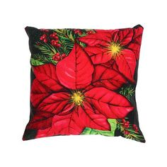 Ih Casa D Cor Led Velvet Cushion (Poinsettia Bundle) (18 X 18) - Set Of 2 Multi-Colour 18 In