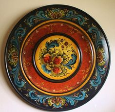 "Norwegian Rosemaling in Telemark Style on 16"" Plate"