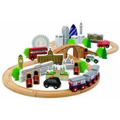 John Crane wooden City of London Train Set Compatiable with Brio BigJig Tomy | eBay