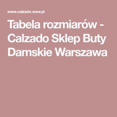 Tabela rozmiarów - Calzado Sklep Buty Damskie Warszawa
