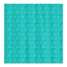 Aqua Retro Circles Pattern Shower Curtain $47.99