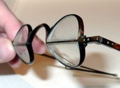 1834 George Richards Elkington patented two developments in one go under the heading An Improvement or improvements in the construction, making or manufacturing of spectacles (Patent 6692). This involved firstly an angled joint resulting in a tilted forward frame. Secondly it introduced the pantoscopic frame with a flattened 'pantoscopic' rim to allow distance viewing over the top of reading lenses. This was the ancestor of the twentieth century panto-round-oval (PRO) eye shape.