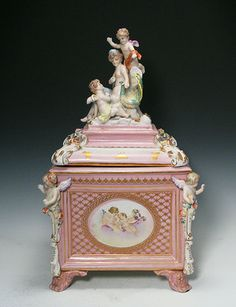 Very Large Old Antique German Porcelain Covered Box with Statues Bisque | eBay