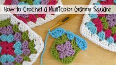 How to Crochet A Classic Multicolor Granny <em>двуцветный мотив крючком</em> Square, Episode 112
