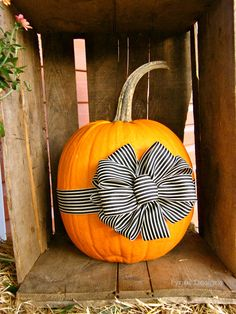 Fall porch decorating ideas- Add a May Arts Ribbon bow to your pumpkin for a uni. Fall porch decorating ideas- Add a May Arts Ribbon bow to your pumpkin for a unique look Autumn Decorating, Pumpkin Decorating, Porch Decorating, Decorating Ideas, Holidays Halloween, Halloween Crafts, Happy Halloween, Thanksgiving Decorations, Halloween Decorations