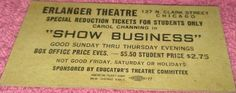 "Erlanger Theatre Carol Channing ""Show Business"" Antique Ticket N Clark St  Chicago, IL"