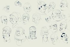 cartoon head sketch, Jan Unolt on ArtStation at https://www.artstation.com/artwork/Wg1BN