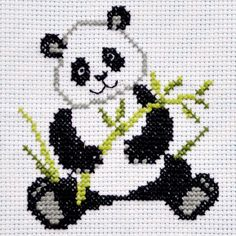 Details about Panda Cross Stitch Kit For Beginners Easy Cute Animal Pattern DIY Embroidery KIT Baby Cross Stitch Patterns, Simple Cross Stitch, Cross Stitch Kits, Cross Stitch Designs, Cross Designs, Diy Embroidery Kit, Cross Stitch Embroidery, Embroidery Patterns, Border Embroidery