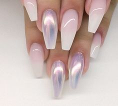 Ombré French nails with holographic, coffin nails, nail art #summernails
