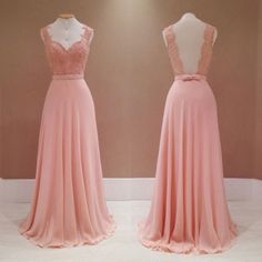 Fashion V-neck Lace Appliques Long Pink Backless Bridesmaid Dress,pink bridesmaid dresses,chiffon bridesmaid dresses,bridesmaid dress 2016 Backless Bridesmaid Dress, Pink Prom Dresses, Cheap Bridesmaid Dresses, Trendy Dresses, Nice Dresses, Sexy Dresses, Dress Prom, Dress Formal, Pink Dress
