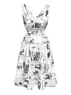 "LaFrock's ""Comic Book"" dress in black and white."