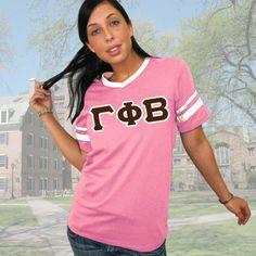 Gamma Phi Beta Striped Tee with Twill Letters $19.95 #Greek #Sorority #Clothing #GPhiB #GammaPhiBeta