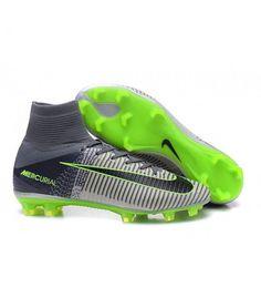 Acheter Nouvelles - Chaussure Nike Mercurial Superfly 5 FG pour Homme Gris Noir Vert pas cher en ligne 124,00€ sur http://cramponsdefootdiscount.com