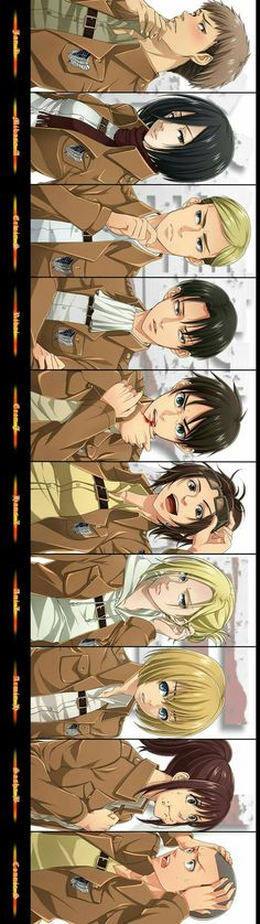 Jean, Mikasa, Erwin, Levi, Eren, Hanji, Annie, Armin, Sasha, Connie, text, funny, blushing, cool; Attack on Titan