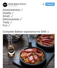 Great Twitter post from Ambar Balkan Cuisine in Washington, D.C. / Sympathique post Twitter de Ambar Balkan Cuisine in Washington, D.C. https://twitter.com/EATBALKAN/status/641671334976729089