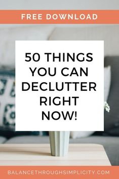 KICK-START YOUR DECLUTTERING...Get your free download! Declutter your home with these 50 easy projects and receive simplicity inspiration straight into your inbox! #declutter #decluttering #home Declutter Bedroom, Declutter Your Home, Organize Your Life, Organizing Your Home, Minimal Living, Simple Living, Decluttering Ideas, Clutter Free Home, Home Organization Hacks