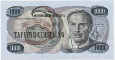 Austria currency 1000 Austrian Schilling banknote of 1961 Viktor Kaplan Europe, Old Paper, Travel Posters, Austria, The Past, History, Retro, Banknote, Wealth