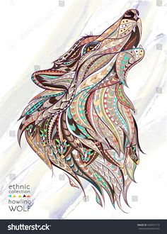 Patterned head of the howling wolf on the grunge background. African / indian / totem / tattoo design. It may be used for design of a t-shirt, bag, postcard, a poster and so on.