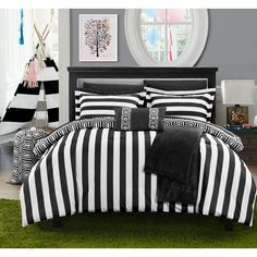 This lovely ten piece bedding set features stripeson one side and reverses to a goemetric print. Available in a variety of colors, this polyester comforter set is conveniently machine washble.