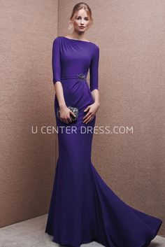 $149.29-Stylish Flora Modest Purple Sheath Evening Gown with Half Sleeves. http://www.ucenterdress.com/stylish-flora-prom-dress-pMK_301625.html.  Shop for affordable evening gowns, prom dresses, white dresses, party dresses for women, little black dresses, long dresses, casual dresses, designer dresses, occasion dresses, formal gowns, cocktail dresses . We have great 2016 Evening Gowns on sale now. #evening #gowns