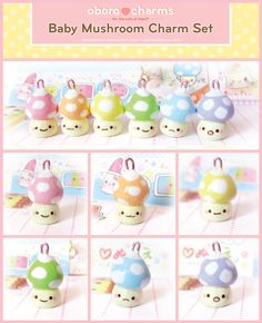 Baby Mushroom Charms by Oborochann.deviantart.com on @deviantART