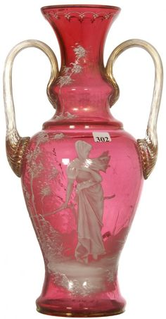 """*BEAUTIFUL 15 1/4"""" CRANBERRY ART GLASS ~ Two handles, w/ applied gold highlights, Mary Gregory Scene of woman near fence."""