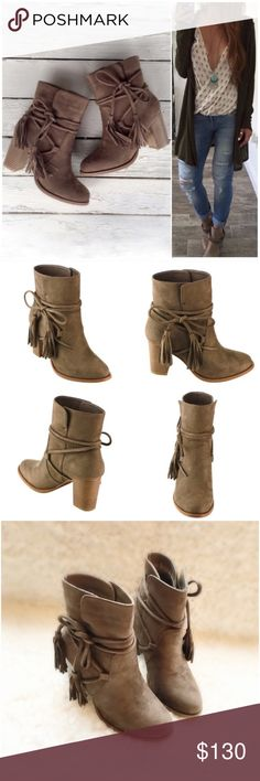 "🎁Exchange for dianeoleary🎁 Size 5.5 NIB Taupe Wrap Around Tassels Ankle Booties. These boho beauties are just what your fall wardrobe is asking for! A rich vegan suede upper with wrap around tassel ties can be tied to your preference. Stacked wooden heel, pull on style, lightly padded sole for comfort. Fits true to size. Heel approx 3"", circumference approx 11.25"". Shaft height approx 5"" from arch. Shoes Ankle Boots & Booties"