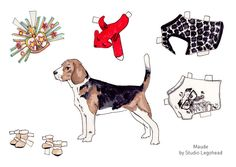 Hello, Recently I was asked to do a few dogs to dress up for Bowowow's advent calendar . Bernie the Pug and Maude the Beagle were the mo. Barbie Paper Dolls, Vintage Paper Dolls, Horse Crafts, Dog Crafts, Doll House People, Paper Art, Paper Crafts, Teal Bedding, Paper Animals