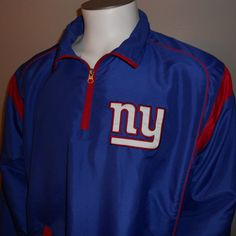 New York Giants Warm Up Jacket Large Pullover NFL NFC East Football #NFL #NewYorkGiants
