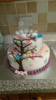 Love Birds and Family Tree 50th Birthday Cake