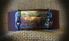 Leather Cuff with Metal Stamping by BellaDoniBoutique on Etsy, $35.00