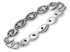 White Gold over Silver Diamond Eternity Stack Marquise Ring Band (Available online at Gemologica.com)