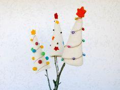 Felt Christmas Tree White Wool Tree Needle by CreativeAtelierBg, $21.00