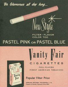 Vanity Fair Pastel Pink Cigarettes ad c. pastel pink or pastel blue 1950s Advertising, 1950s Ads, Retro Ads, Vintage Advertisements, 1960s, Pub Vintage, Vintage Pink, Vintage Vanity, Vintage Room