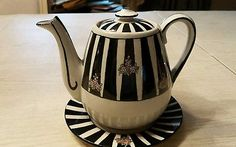 """Guernsey Cooking Ware Teapot signed """"M. Nagle 1919"""" black and white with Roses"""