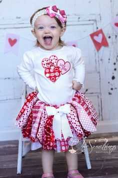 Fabric Tutu HUG AND KISSES Valentines day tutu by ChicSomethings, $30.00