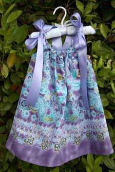 Blue and Purple batik pillow case dress Blue Dresses, Summer Dresses, Batik Dress, 18 Months, Pillow Cases, Pillows, Purple, Girls, Fabric