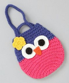 Little ones will never be far from a precious pal with a darling owl at their side. The soft knit and bright colors of this bag promise to pop with any mini ensemble. Owl Crochet Patterns, Crochet Owls, Crochet Mittens, Baby Girl Crochet, Crochet Purses, Bead Crochet, Crochet Gifts, Crochet For Kids, Crochet Owl Purse