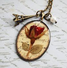 Real Rose Necklace Pressed Flowers Wearable Art Shabby Chic Vintage Paris True Love Story Romantic Nostalgic Antique Pearl Eiffel Tower, $30.00