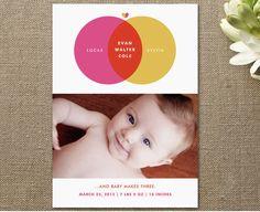 minted birth announcement, susie allen, baby makes three