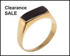 CLEARANCE SALE, Narrow Rectangle Signet Ring inlaid with Black Enamel, US Size 5.5, Holiday Gift for Her, Fashion Statement Geometric Ring