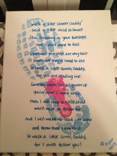 following in daddy's footsteps poem | Father's Day canvas with daddy-daughter footprints and sweet poem