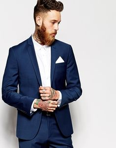 Agrandir ASOS - Veste de costume cintrée - Bleu marine