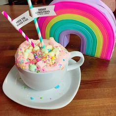 """Pink unicorn"" Hot Chocolate. white hot Chocolate, food coloring, marshmallows and sprinkles!"