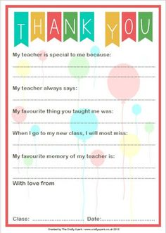 Thank You Teacher Letter for your little one to send to their teacher plus a tutorial on how to make a matching box :)