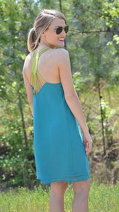 Strap back Dress, Teal :: NEW ARRIVALS :: The Blue Door Boutique  $39