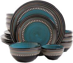 Gibson Elite Caf Eacute Versailles 16 Piece Double Bowl Dinnerware Set - Blue | eBay