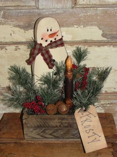 Primitive Snowman Lath Arrangement With Light